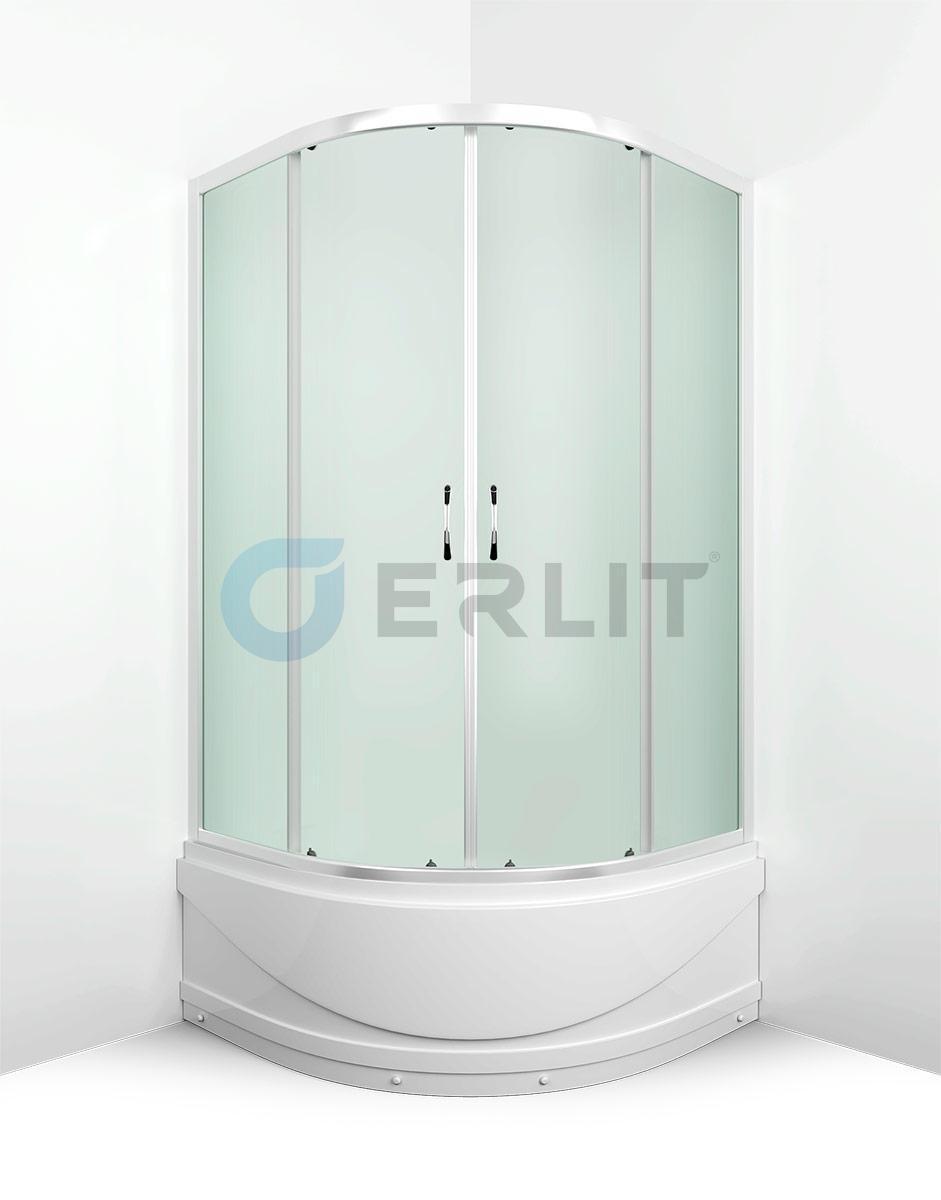 Душевой уголок Erlit ER0508T-C3, 80х80 см., высокий поддон, матовое стекло