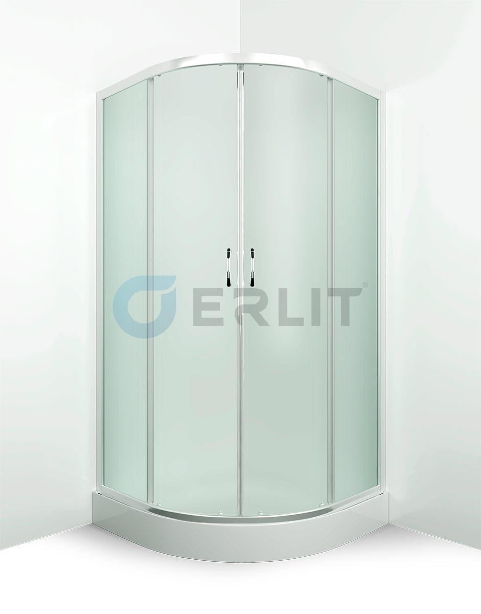 Душевой уголок Erlit ER0508-C3, 80х80 см., низкий поддон, матовое стекло