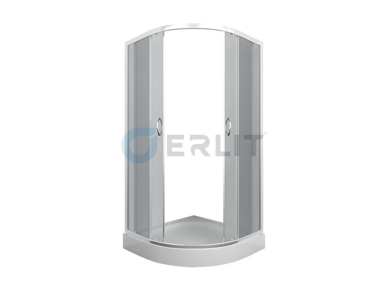 Душевой уголок Erlit ER0508-C4, 80х80 см., низкий поддон, тонированное стекло