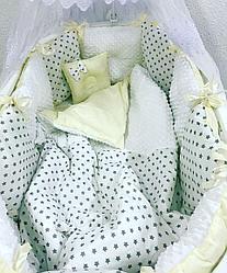 Комплект в кроватку ILNUR 17 предметов Звезды Белый