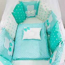 Комплект в кроватку ILNUR 17 предметов Горох/Медвежонок ментол