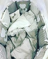 Комплект в кроватку ILNUR 17 предметов Звезды/Медвежонок серый