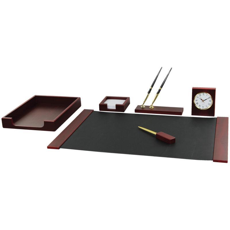 Набор настольный подарочный Delucci 6 предметов, красное дерево, часы
