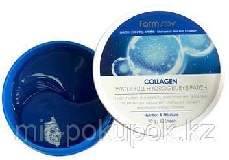 FarmStay collagen water full hydrogel eye patch Гидрогелевые патчи экстракт коллагена 60 шт, Алматы