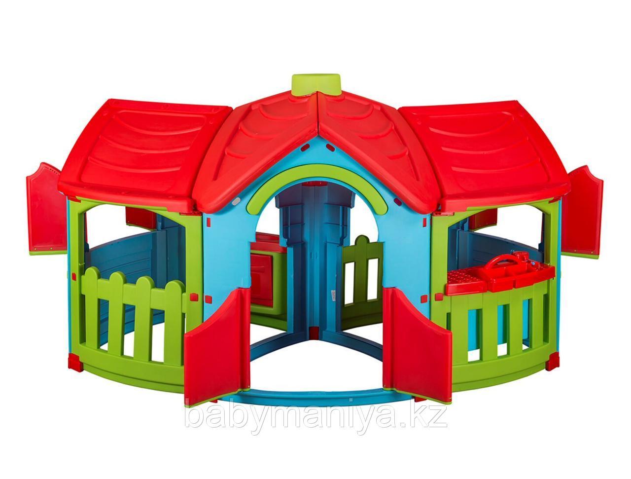 Детский игровой Домик Marian Plast с двумя пристройками (голубой, зеленый, красный)