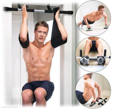 Тренажер-турник в дверной проем «Iron Gym II» + поддерживающие ремни