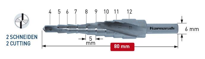 Ступенчатое сверло, диаметр 4-12 мм, двухзаходное