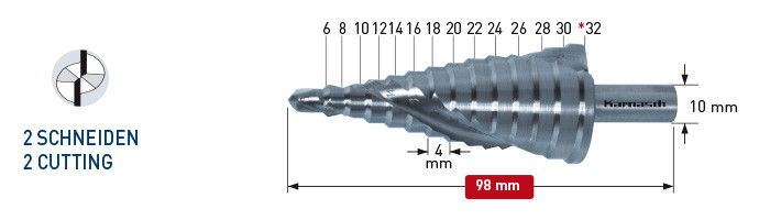 Ступенчатое сверло, диаметр 6-32 мм, двухзаходное