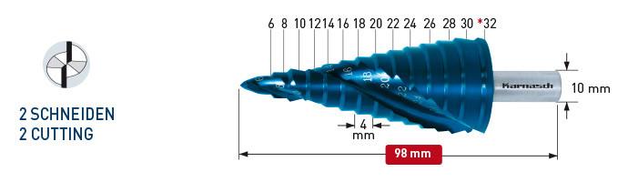 Ступенчатое сверло с покрытием BLUE-DUR, диаметр 6-32 мм, двухзаходное