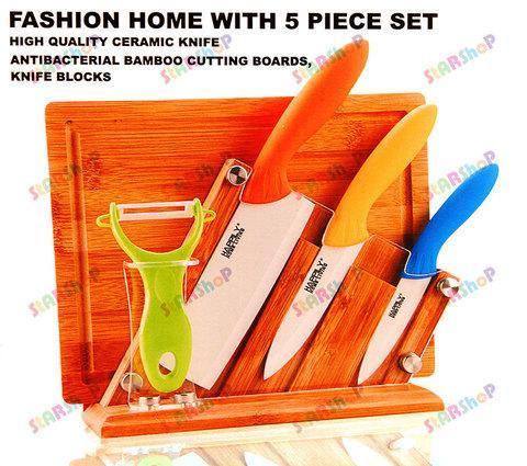 Набор керамических ножей на деревянной подставке, фото 2