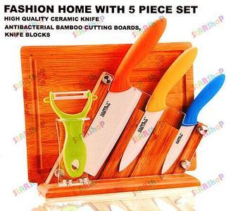 Набор керамических ножей на деревянной подставке
