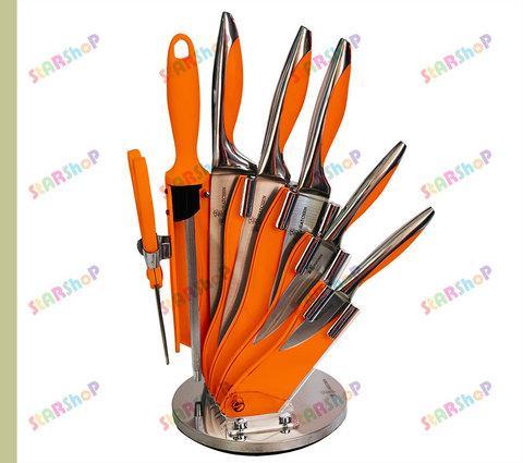 Набор стальных ножей на подставке (Синий)
