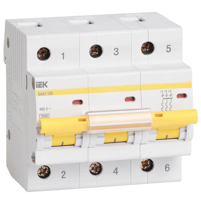 Автоматический выключатель реечный IEK ВА47-100 3P 100А, 230/400 В, Кол-во полюсов: 3, Предел отключения: 10 к