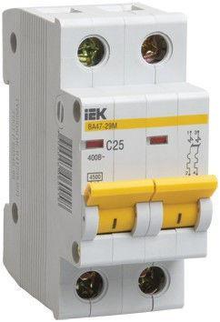 Автоматический выключатель реечный IEK ВА47-29 2P 25А, 230/400 В, Кол-во полюсов: 2, Предел отключения: 4,5 кА