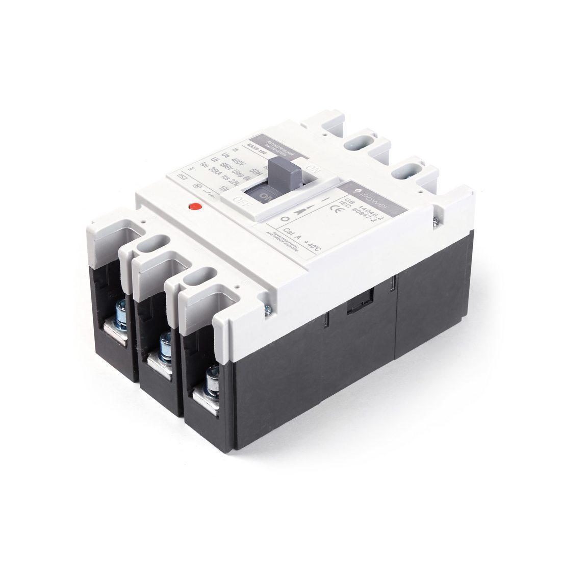 Автоматический выключатель установочный iPower ВА55-100 3P 100А, 380/660 В, Кол-во полюсов: 3, Предел отключен