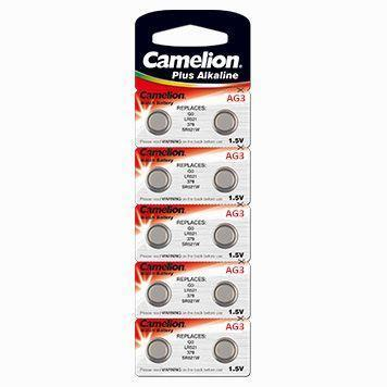 Батарейка Camelion AG3-BP10 1,5 В, Упакова: Блистер 10 шт., Аналоги: AG3\LR736\LR41, Тип батареи: Марганцево-ц