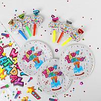Набор для праздника «С днём рождения!», скатерть 180*108 см, 6 тарелок 18 см, 6 язычков