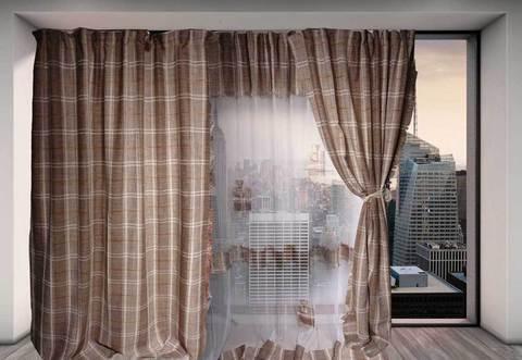 Комплект штор из натурального льна 242 (2 м / тюль + 1 теневая штора), фото 2