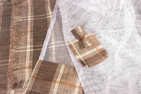 Комплект штор из натурального льна 242 (2 м / тюль + 2 теневые шторы)