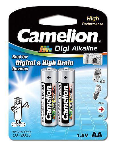 Батарейка Camelion LR6-BP2DG 1,5 В, Упакова: Блистер 2 шт., Аналоги: LR6\15A\AA\А316, Тип батареи: Щелочная (А