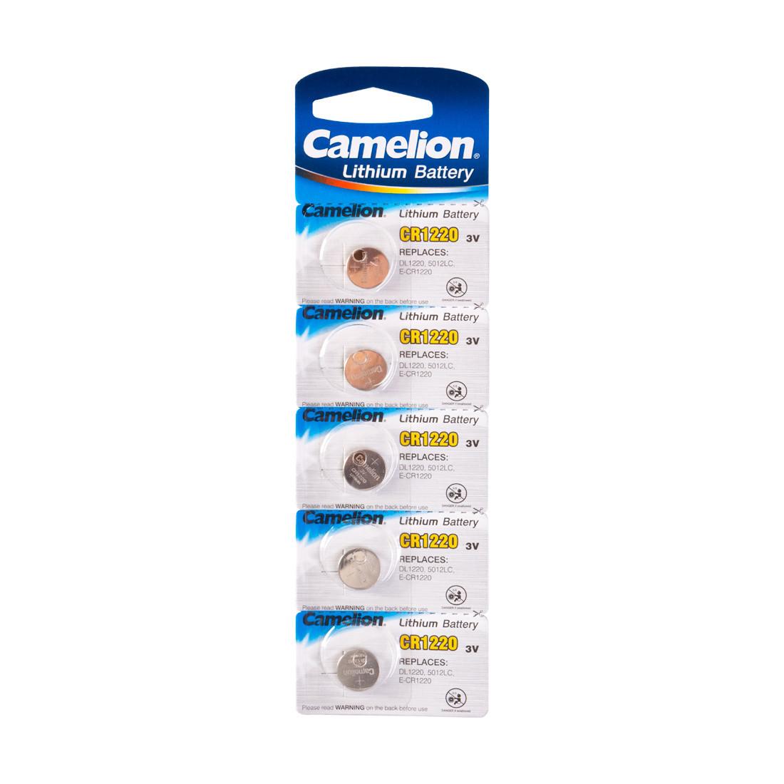 Батарейка Camelion CR1220-BP5 3 В, Упакова: Блистер 1 шт., Аналоги: CR1616\5021LC, Тип батареи: Литий-ионный