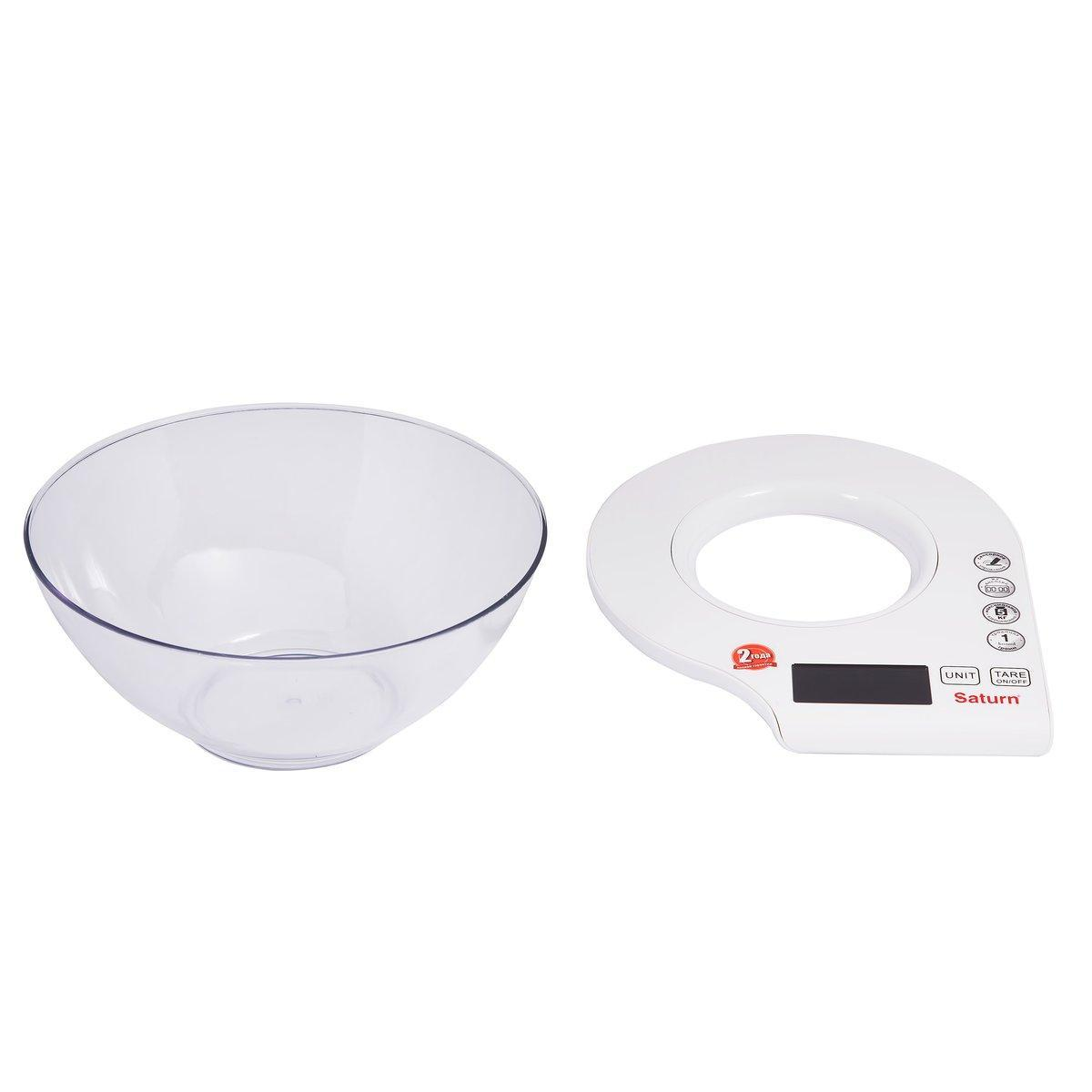 Весы кухонные со съемной чашей Saturn ST-KS7803, Допустимый вес: 5 кг, Точность: 1 г, Цвет: Белый
