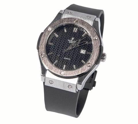 Часы наручные мужские реплика Hublot Geneve Big Bang (Сталь, черный ремешок)