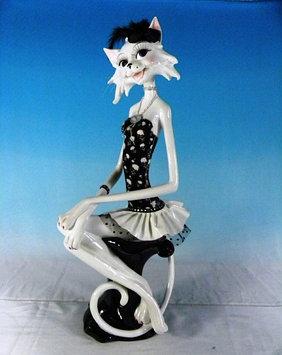 Статуэтка декоративная ENS Кошка-модница, Высота: 590 мм, Материал: Полистоун, текстиль, Цвет: Чёрно-белый, (B