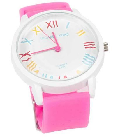 Часы наручные реплика Michael Kors MK-2491 на силиконовом ремешке (Розовый)