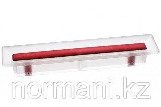 Ручка-скоба 96 мм, отделка транспарент матовый + красный