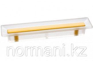 Ручка-скоба 96 мм, отделка транспарент матовый + жёлтый