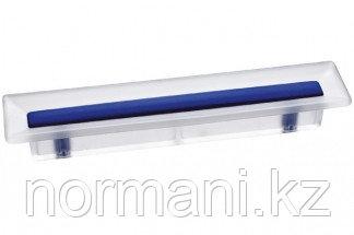 Ручка-скоба 96 мм, отделка транспарент матовый + синий