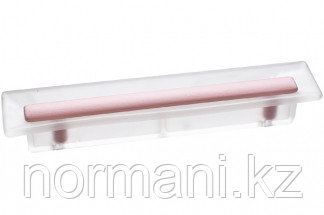 Ручка-скоба 96 мм, отделка транспарент матовый + розовый