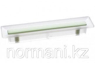 Ручка-скоба 96 мм, отделка транспарент матовый + светло-зелёный