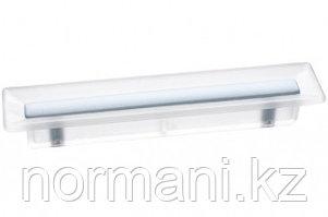 Ручка-скоба 96 мм, отделка транспарент матовый + светло-голубой