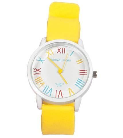 Часы наручные реплика Michael Kors MK-2491 на силиконовом ремешке (Желтый)