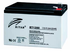 Батарея необслуживаемая (аккумулятор) Ritar RT1280 (12V 8 Ah), Емкость аккумулятора: 8 Ah, Разъемы: F1/F2