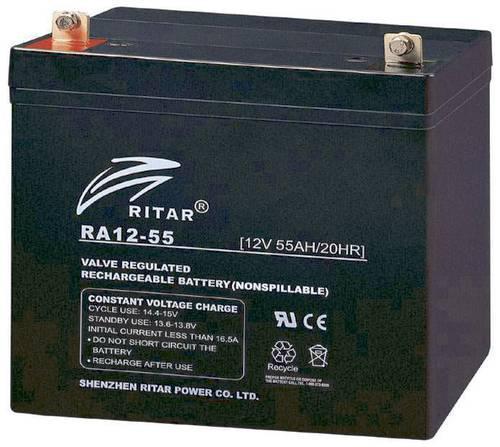 Батарея необслуживаемая (аккумулятор) Ritar RA12-55 (12V 55 Ah), Емкость аккумулятора: 55 Ah, Разъемы: F7/F11