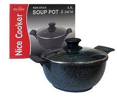 Кастрюля-казан с мраморным покрытием Nice Cooker (28 см (6.2 л) / Тёмный мрамор), фото 2
