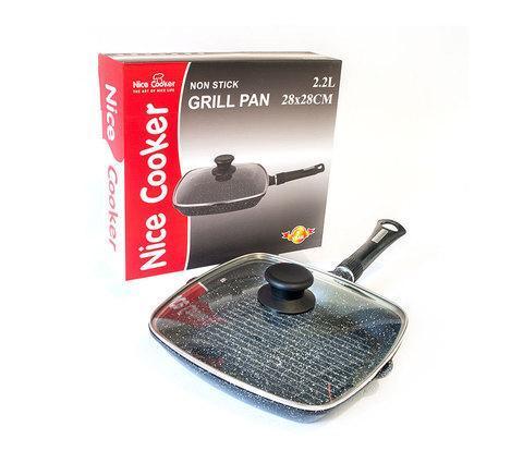 Сковорода для гриля с мраморным покрытием Nice Cooker 28х28 см, фото 2
