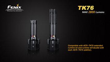 Фонарь электрический тактический Fenix TK76, Дальность луча: 450 м, Яркость: Три лампы: 2800 (турбо), 1100 (яр