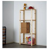 Стеллаж 1 секция ХЕЙНЕ хвойное дерево ИКЕА, IKEA, фото 1