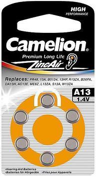 Батарейка Camelion A13-BP6 1,4 В, Упакова: Блистер 6 шт., Аналоги: PR48\A13\ZA13\V13A\DA13, Тип батареи: Возду