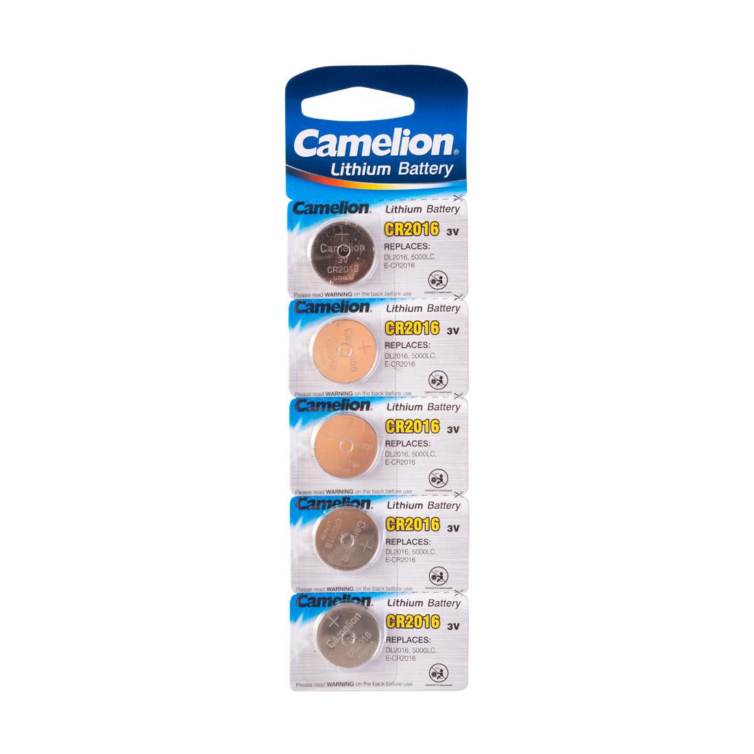 Батарейка Camelion CR2016-BP5 3 В, Упакова: Блистер 5 шт., Аналоги: CR2016\5000LC, Тип батареи: Литий-ионный