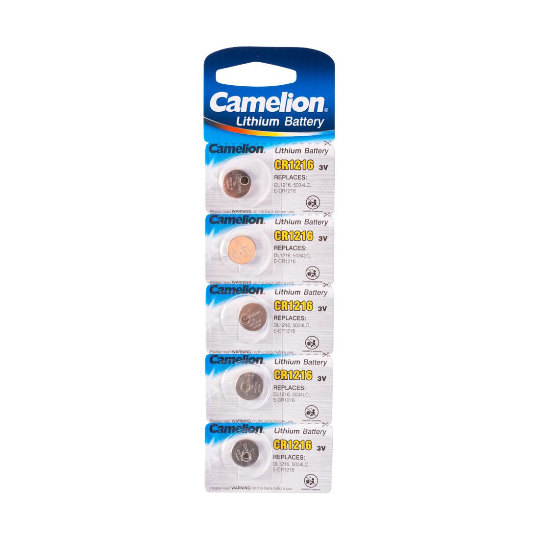 Батарейка Camelion CR1216-BP5 3 В, Упакова: Блистер 1 шт., Аналоги: CR1616\5021LC, Тип батареи: Литий-ионный