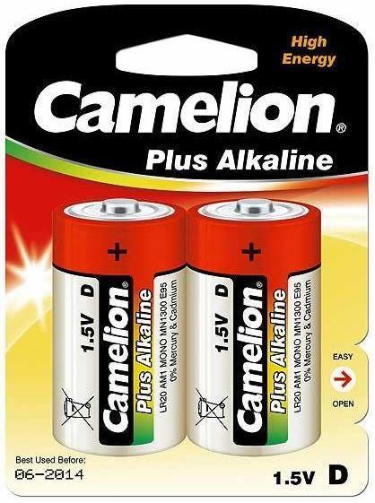 Батарейка Camelion LR20-BP2 1,5 В, Упакова: Блистер 2 шт., Аналоги: LR20\13A\D\А373, Тип батареи: Щелочная (Ал
