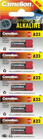 Батарейка Camelion A23-BP5 12 В, Упакова: Блистер 5 шт., Аналоги: A23\1181A\8LR23\LRV08\3LR50\K23A\MN21, Тип б