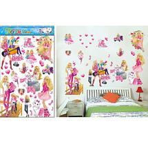 Наклейки 5D для украшения интерьера детской комнаты (Barbie), фото 2