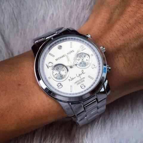 Часы наручные унисекс реплика Michael Kors New York LE MK5662 (Сталь, белый циферблат)