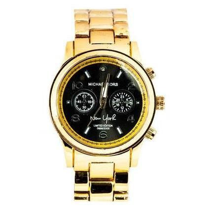 Часы наручные унисекс реплика Michael Kors New York LE MK5662 (Золото, черный циферблат), фото 2